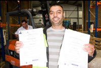 Forklift Training in London - Client with certificates